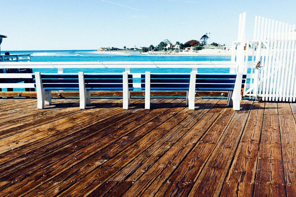 pier dock wood benches summer sunshine sunny ocean sea