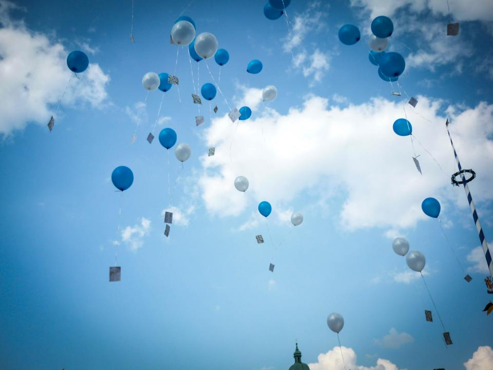 wedding balloons sky clouds Munich Bavaria Germany