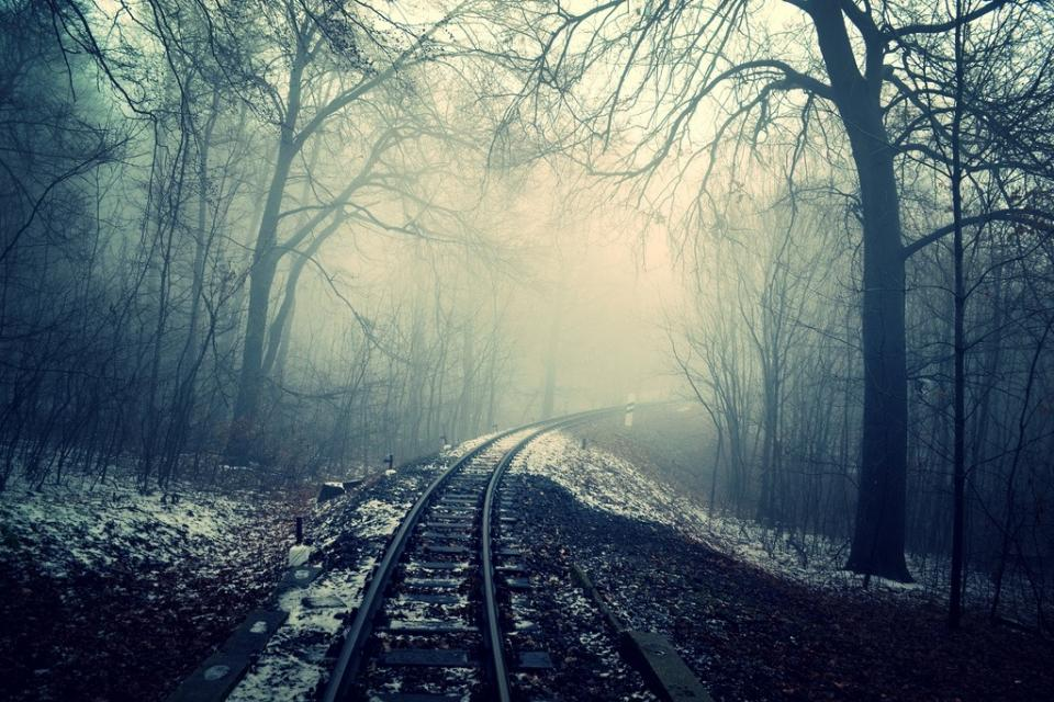 dark mist fog haze night train tracks railroad railway trees forest winter snow cold