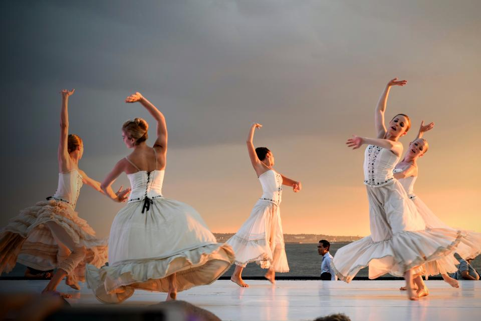 people girls dancing dance dancer white dress sky ocean man performing arts