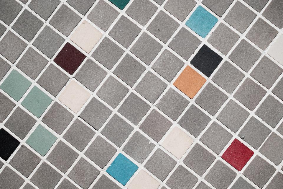 squares tiles rough gray red black blue