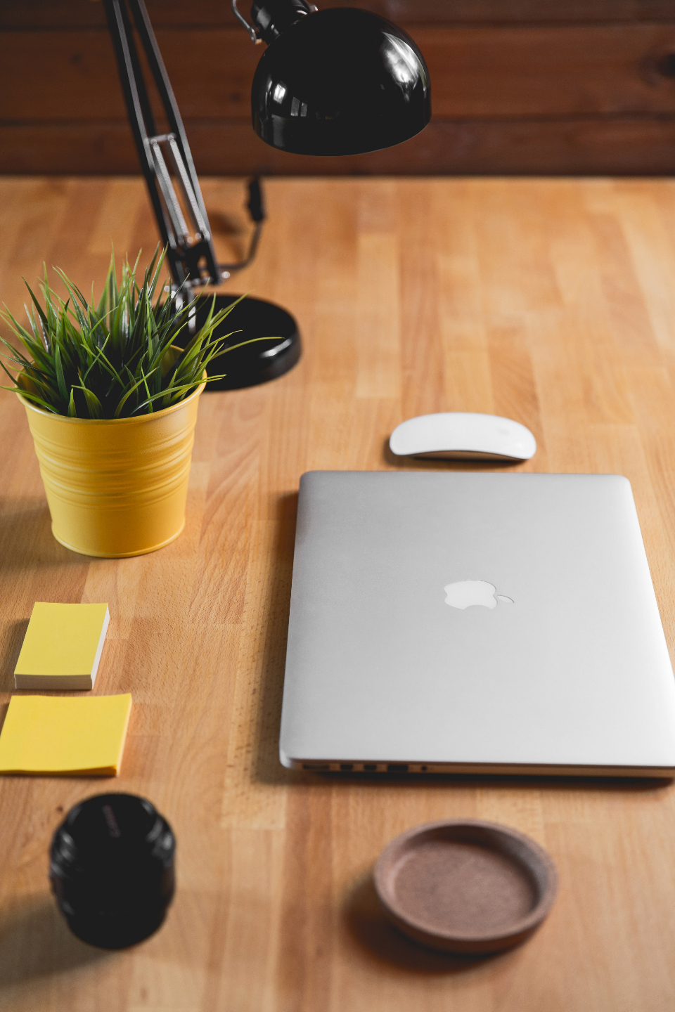 macbook mouse lamp black post it yellow desk office business plant green wood pine camera lens