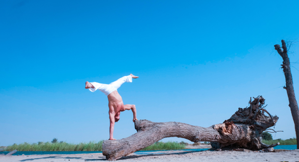 acrobatic yoga beach tree nature sport fitness white man male blue sky handstand
