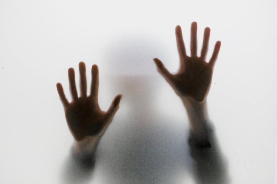 hands glass shadow press frosted silhouette behind body human trapped hand fingers moody person