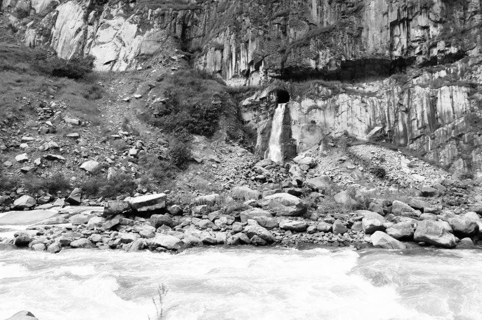 Hydroelectronica Peru river rapids water rocks cliffs nature black and white