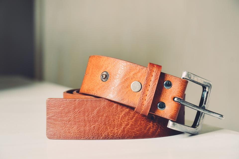 brown leather belt fashion objects