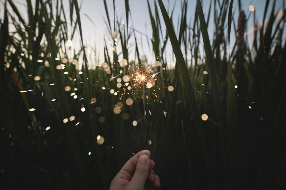 nature field grass leaves person hand hold sparklers fireworks sparkle crackle lights orbs still bokeh