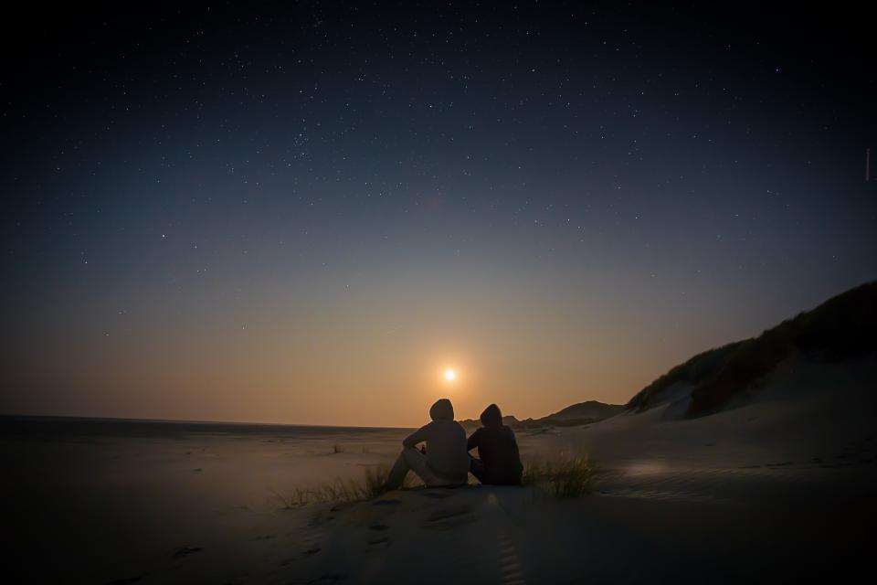 stars galaxy space astronomy night dark evening sunset dusk people landscape nature mountains beach sand