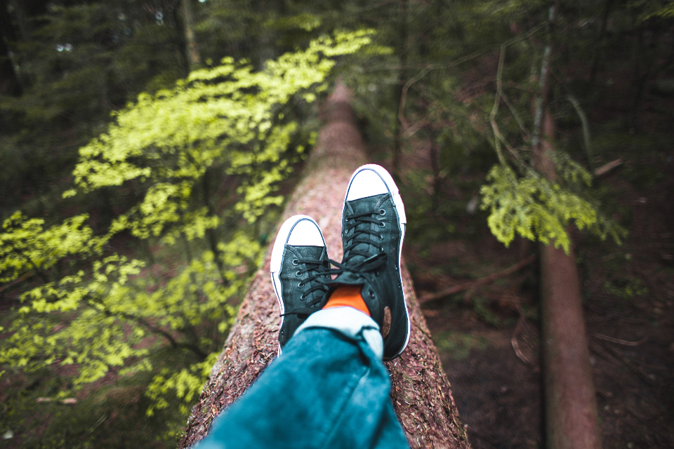 relaxing shoes nature hiking sitting chilling outdoors environment trees leaves sneakers legs feet resting hipster green plants peaceful wanderlust