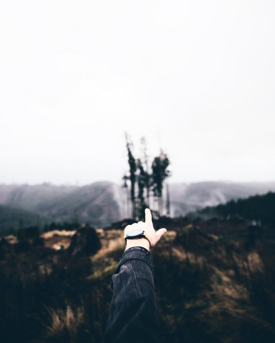 finger pointing hands watch nature landscape outdoors sky