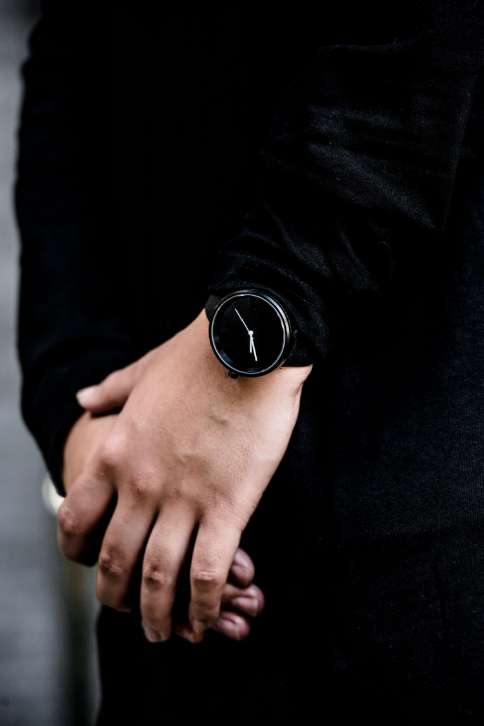 black fashion watch wristwatch time timepiece man simple minimalist clean hands person stylish lifestyle