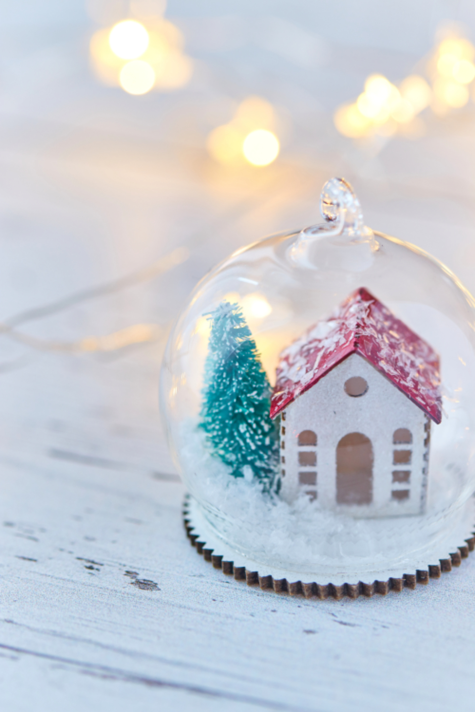 snow globe christmas decoration festive seasonal xmas cabin tree winter sphere holiday gift close up ball bauble