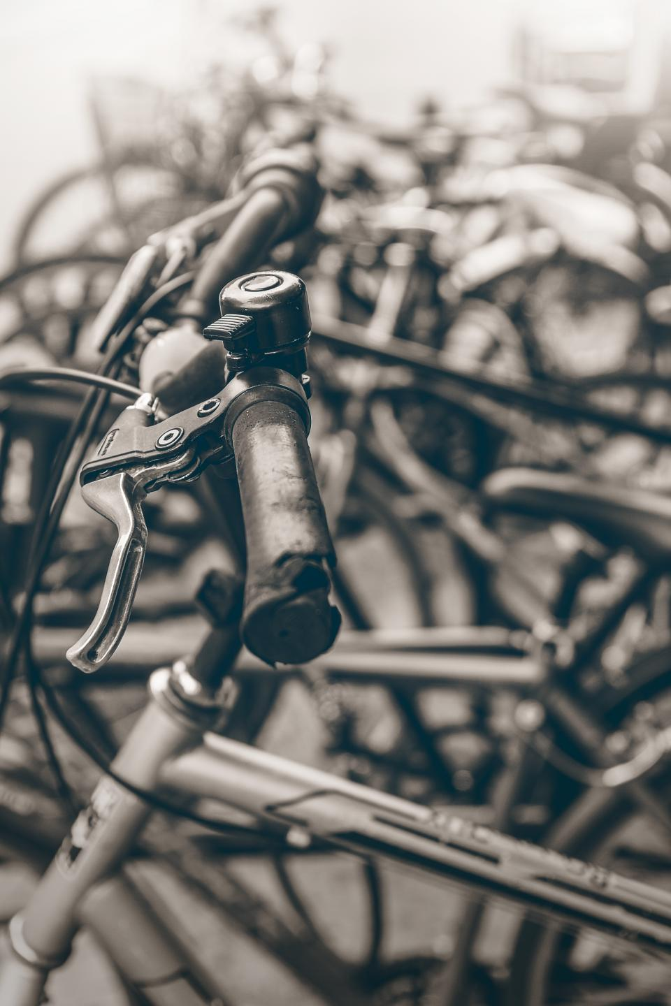 bicycles wheels gear black and white travel outdoor old wreck broken sports bokeh blur steel brakes handlebars pedals