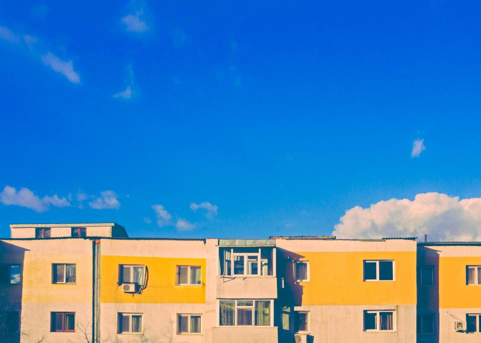 blue sky sunshine clouds buildings apartments architecture city urban