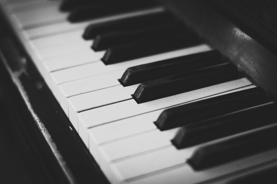 piano keys music instrument audio black and white