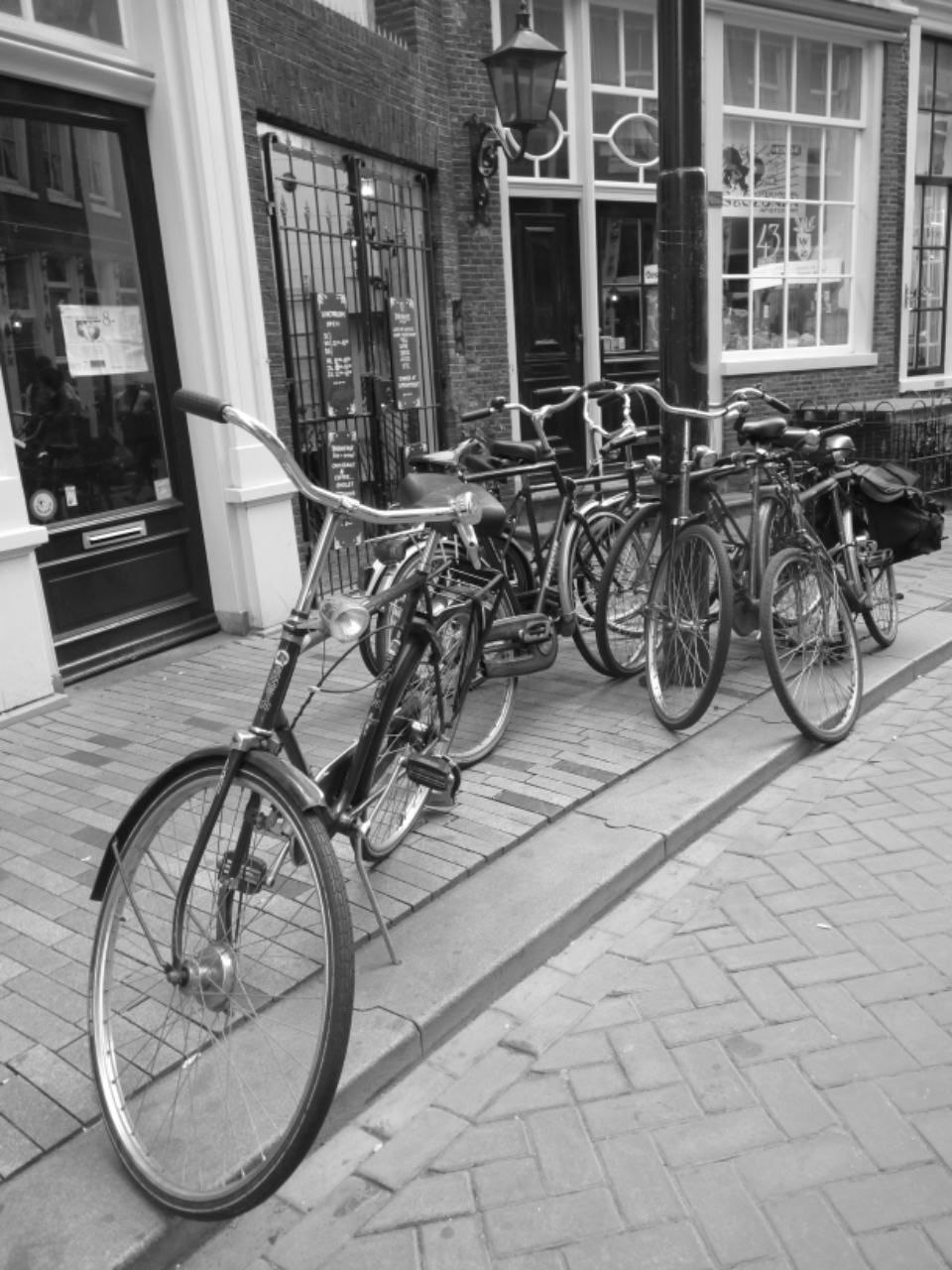 Amsterdam bike road trip vintage europe street black & white path road travel transport