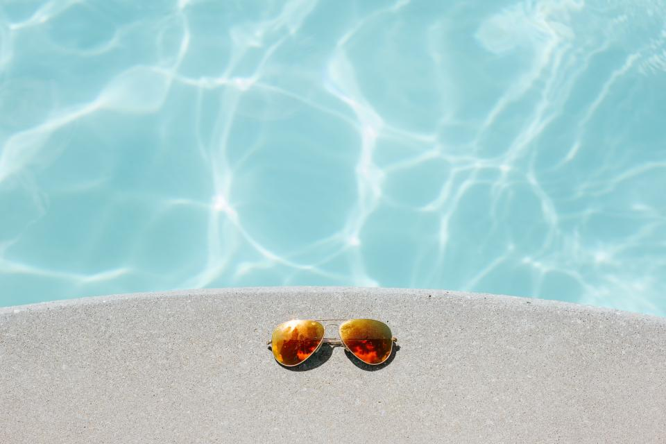 water pool blue current shades sunglasses sunny summer