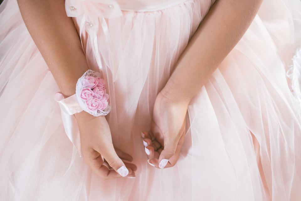 hand arms bracelet pink flower dress