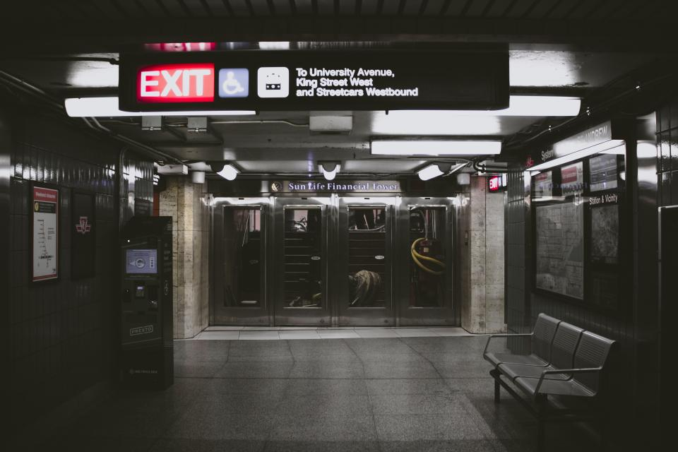 subway station places exit sign travel