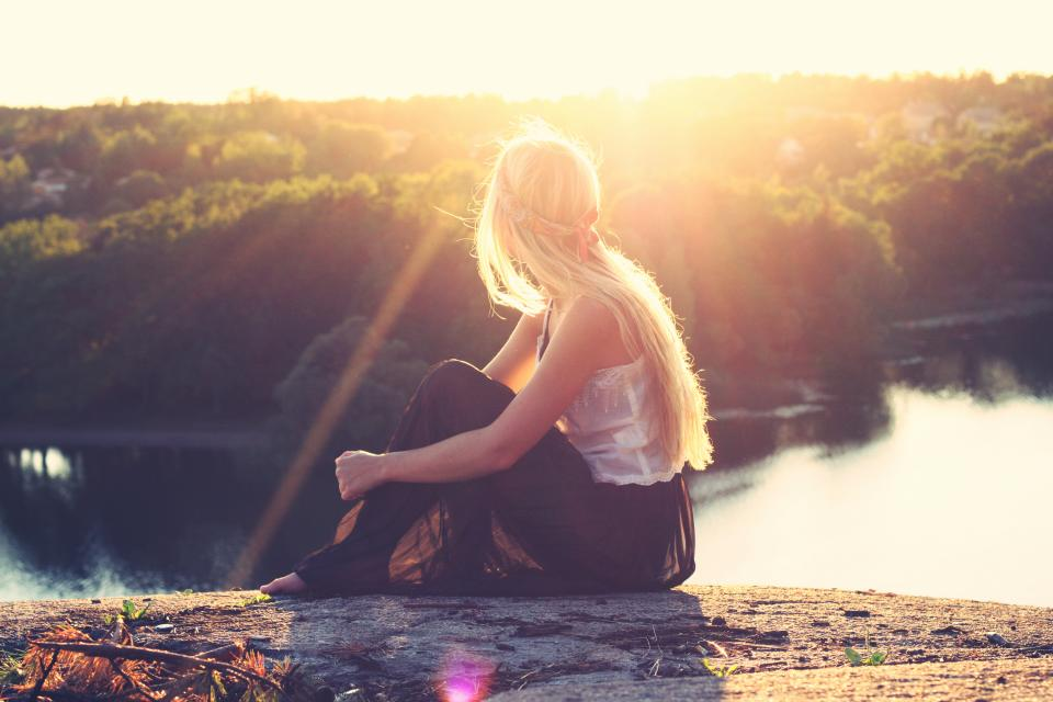 girl blonde long hair pretty beautiful people sunset looking watching river water trees nature beauty