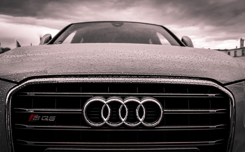 audi car automotive hood raining rain drops wet cloud storm grill