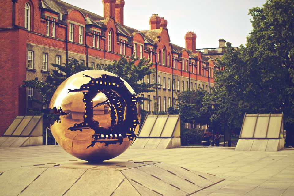 Trinity College campus Dublin school gold sphere art buildings architecture class