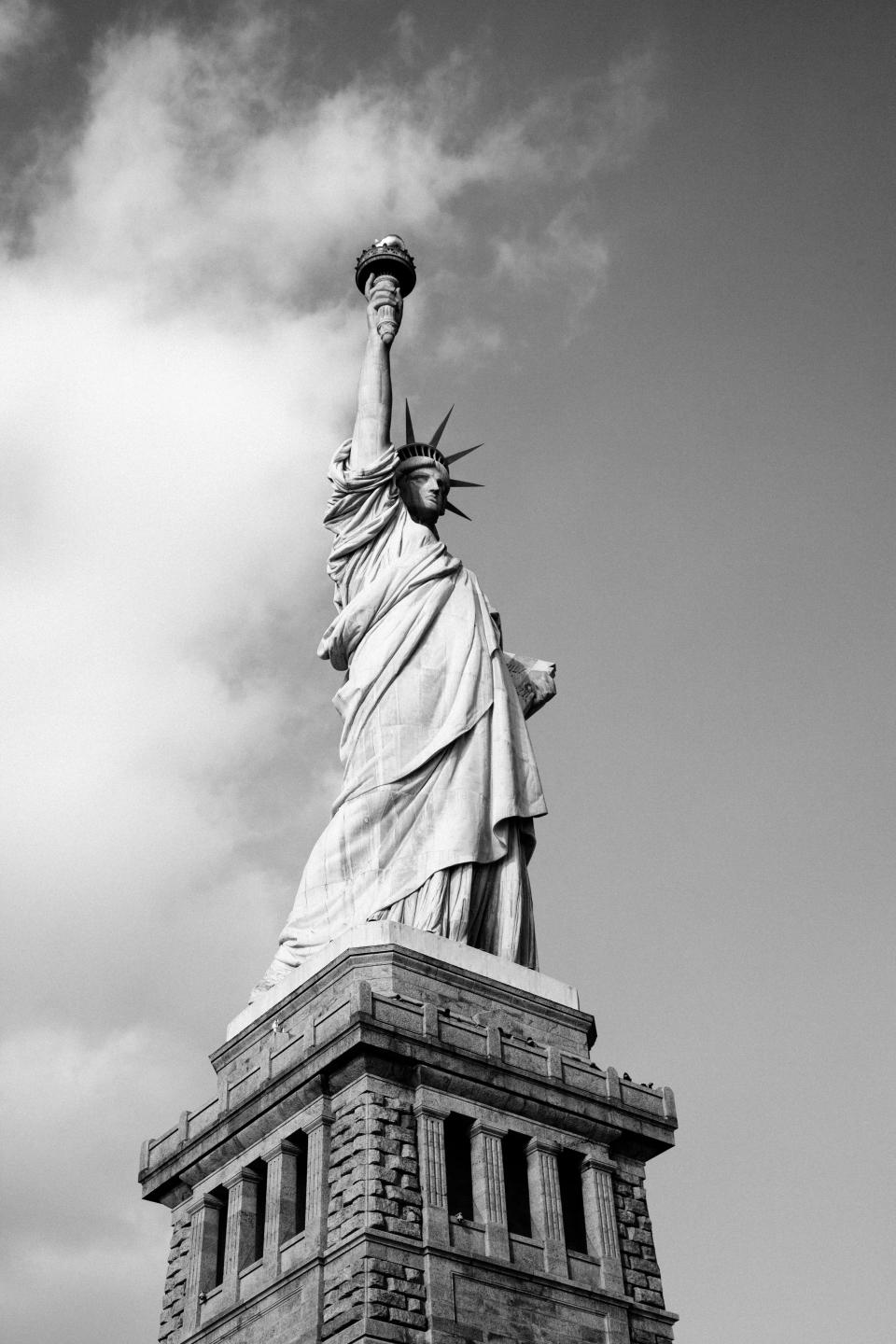Statue of liberty architecture New York USA sky black and white
