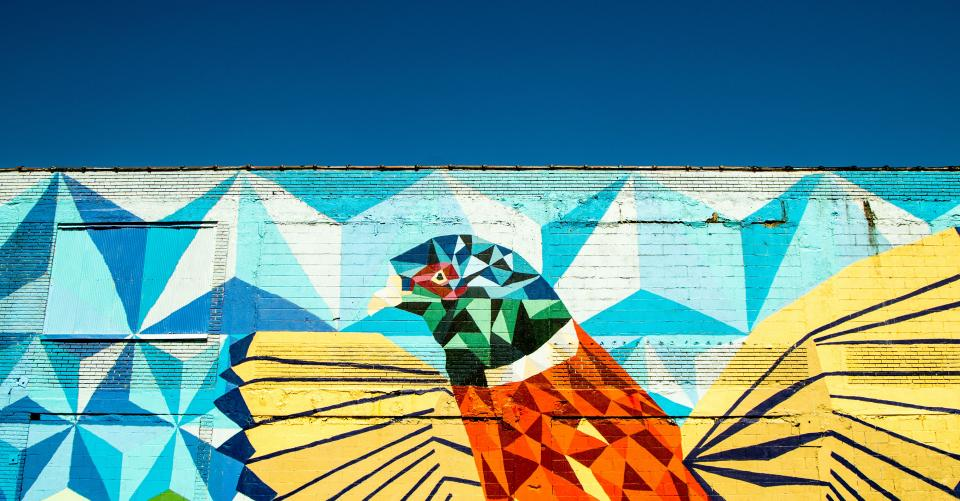 public wall art mural bird animal painting graffiti blue sky