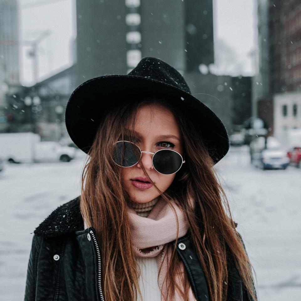 people woman beauty fashion shades snow cold weather scarf hat