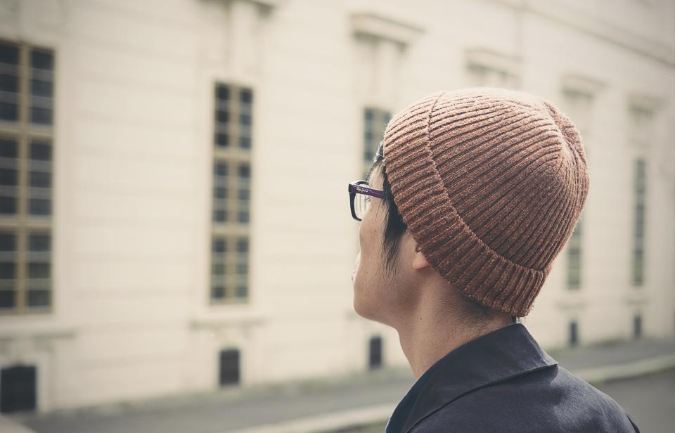 people man guy hat beanie eyeglasses alone