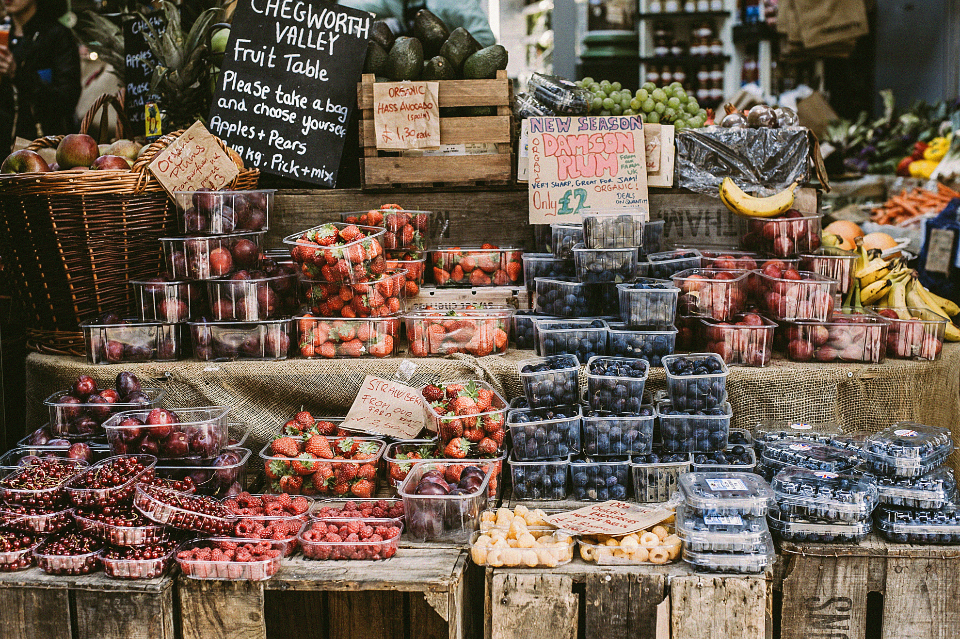 fruit market stall organic fresh food strawberry plums cherries apples colors vintage rustic shop sell