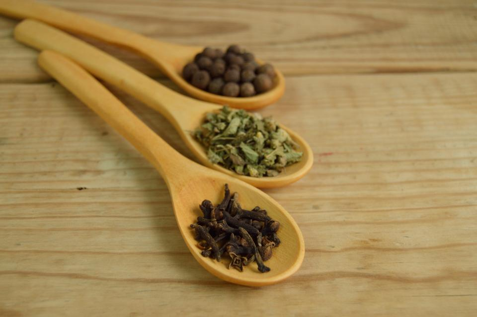 wood spoon condiments utensils ingredients spices table brown