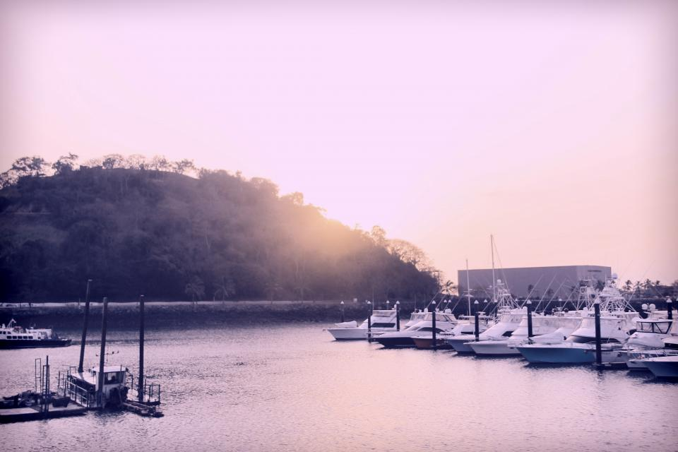Panama sunset boats marina harbor harbour water