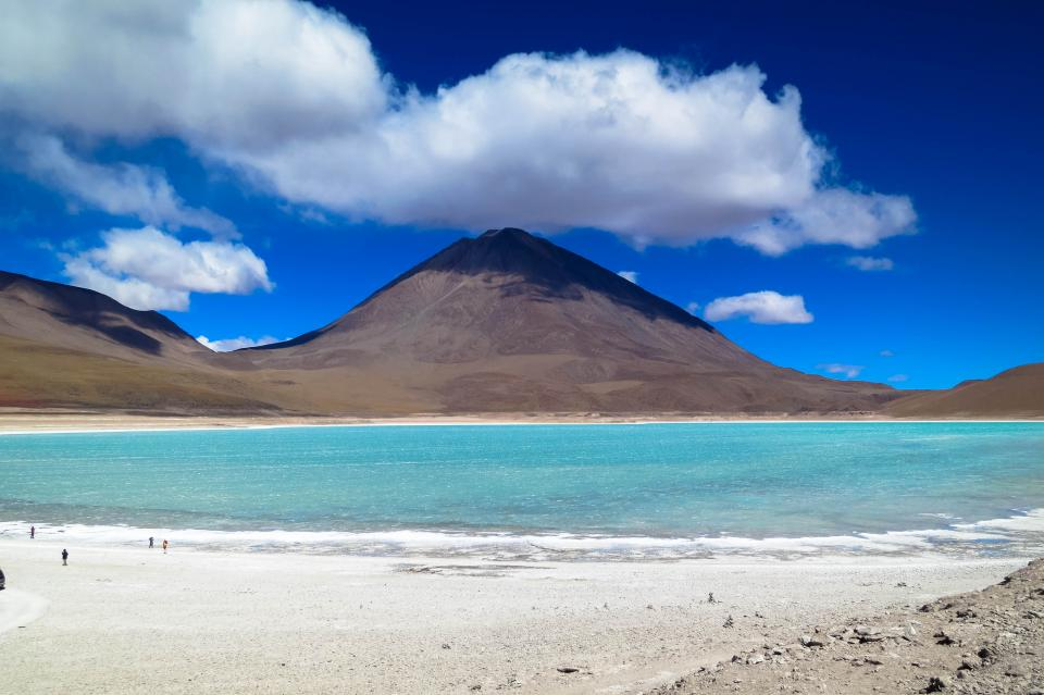 Laguna Verde Bolivia sand water mountains hills sky clouds nature landscape