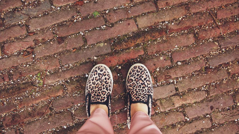 cheetah print shoes cobblestone ground