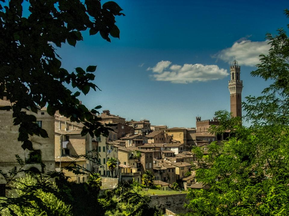 siena tuscany italy city town buildings architecture houses tower hills sky