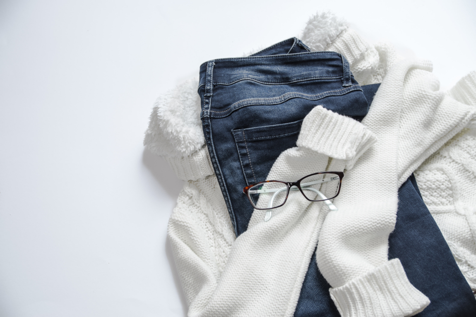 white sneakers jeans scarf blue minimal apparel fashion clothes eyewear footwear shoes sunglasses wool