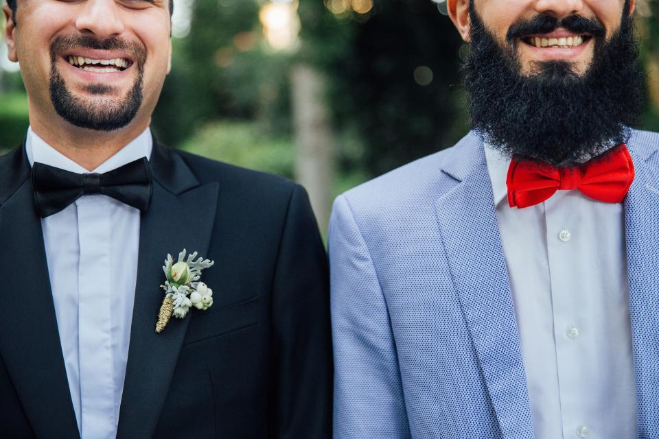 people men male suit wedding tie beard smile laugh happy mustache friends