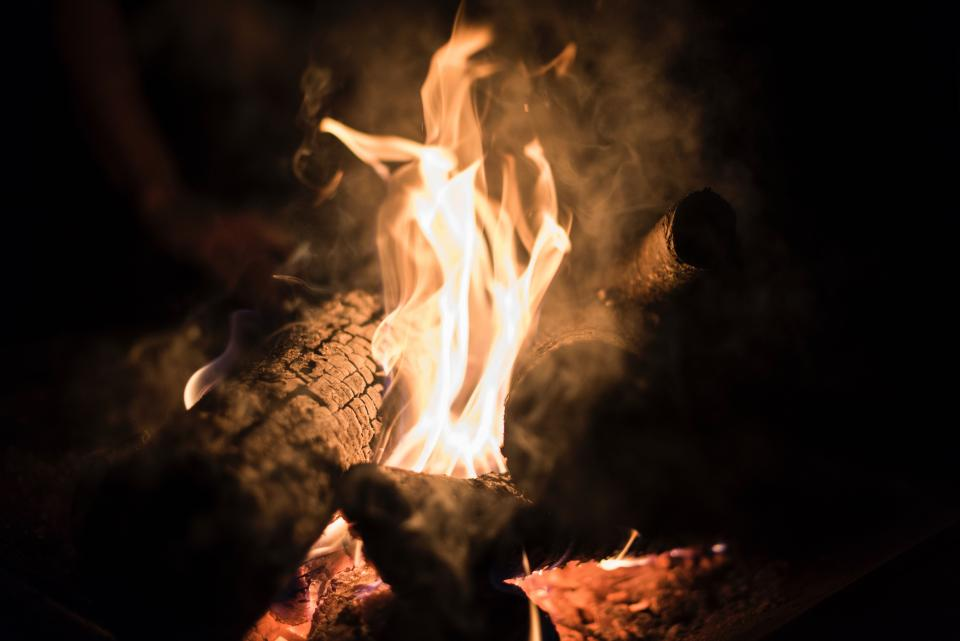 fire flame bonfire campfire firewood burn night heat