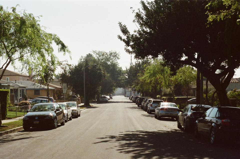 santa monica street road cars parked sidewalk neighborhood neighbourhood suburbs sunny trees houses residences