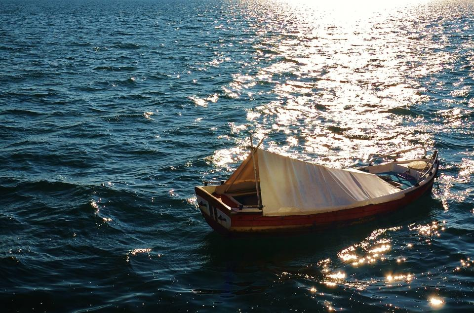 fishing boat water ocean sea sunshine
