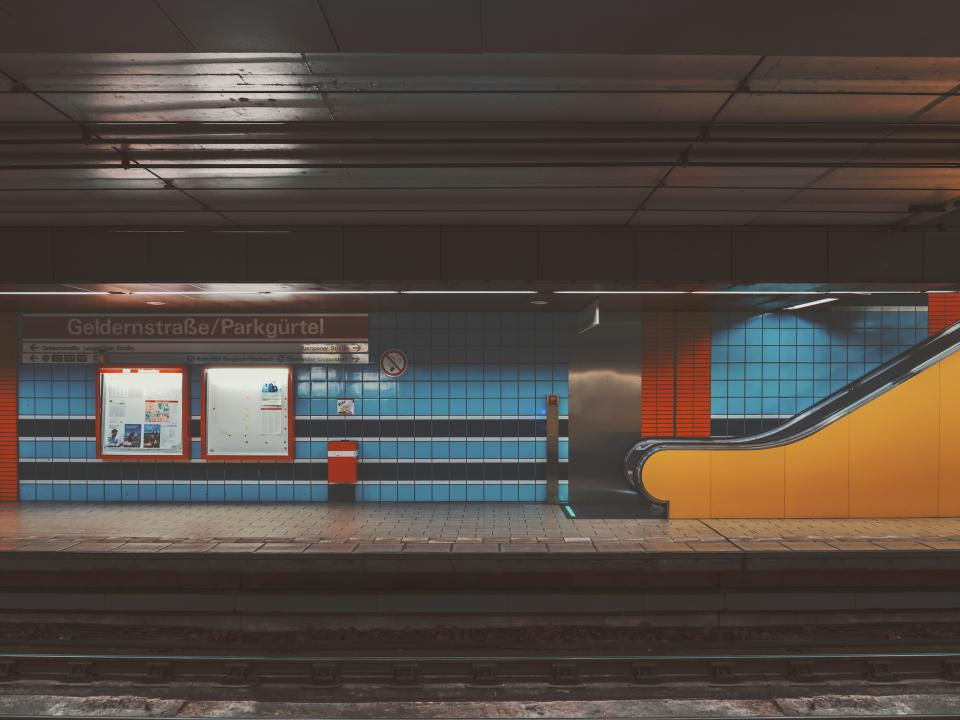 places train station subway blue orange yellow