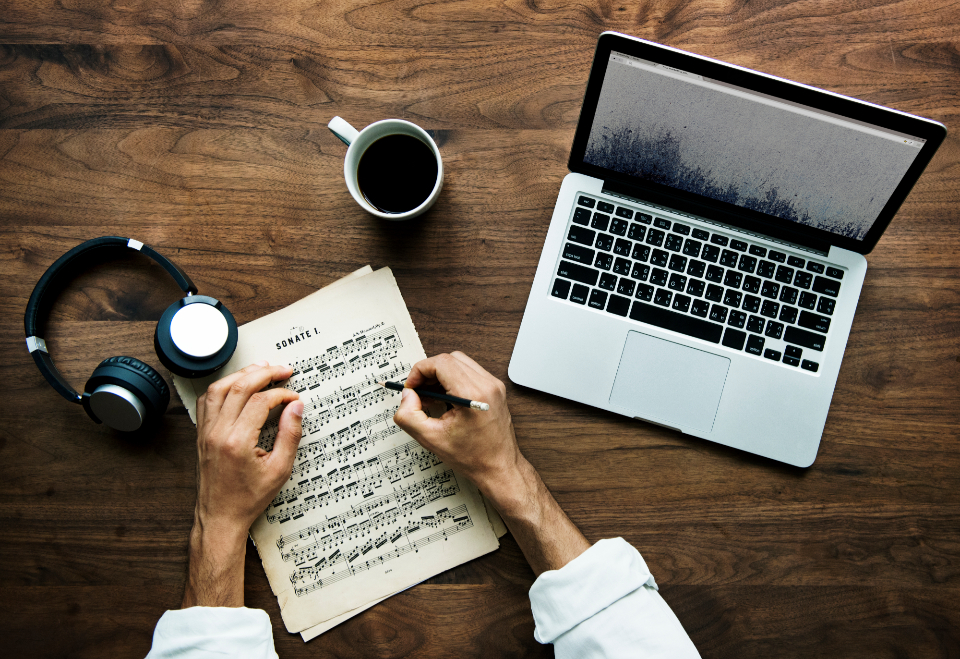 coffee composition computer connection cup daily device digital dream entertainment flat lay flatlay hand headphones hobby internet keyboard label laptop lifestyle media morning music musi