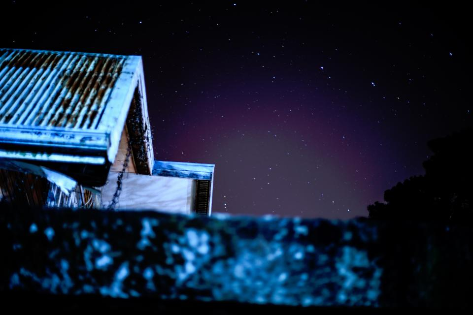 house roof night sky stars