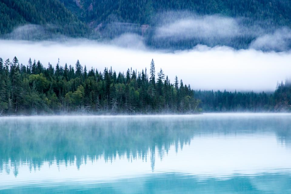 nature landscape water lake river sea reflection forests trees fog mysterious