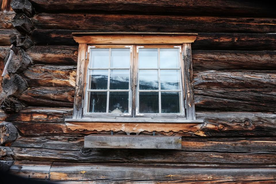 windows old woods home house reflection snow winter weather
