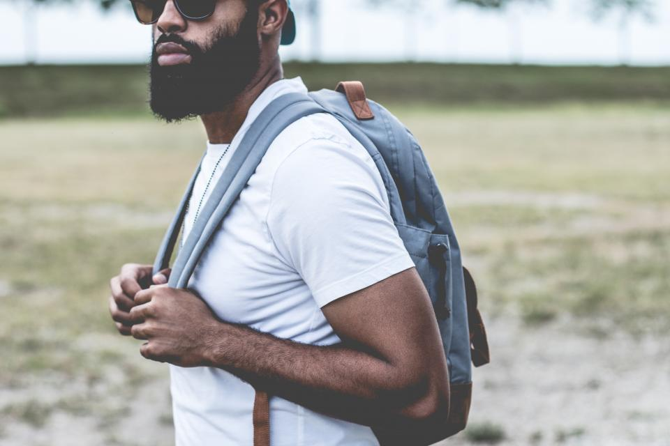 guy man beard sunglasses backpack student people fashion model tshirt lifestyle urban