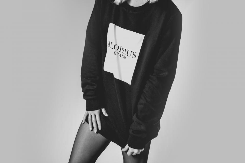 people woman black and white monochrome sweatshirt oversized fashion