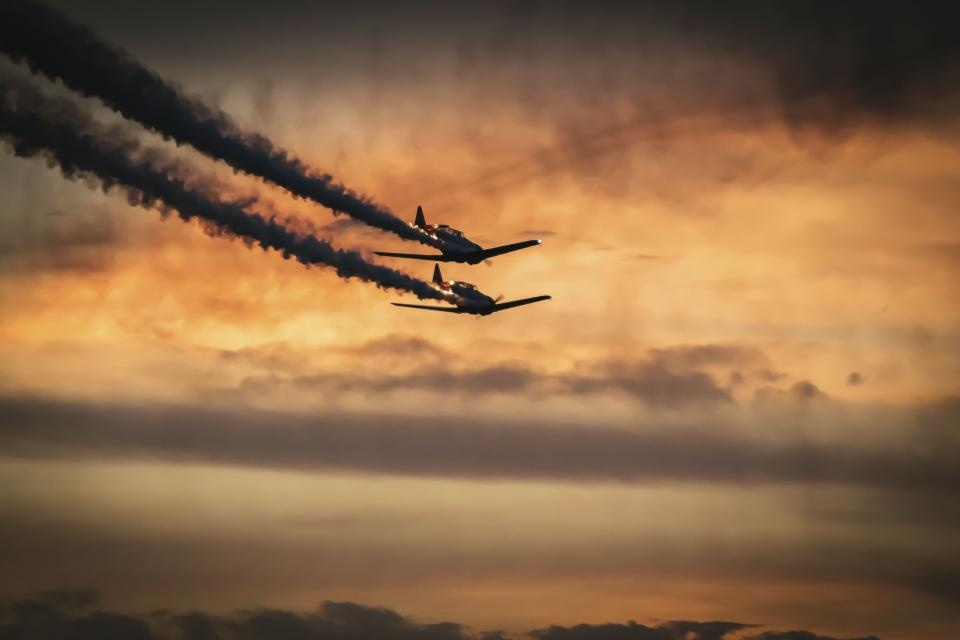nature landscape airplane clouds sky smoke aircraft military