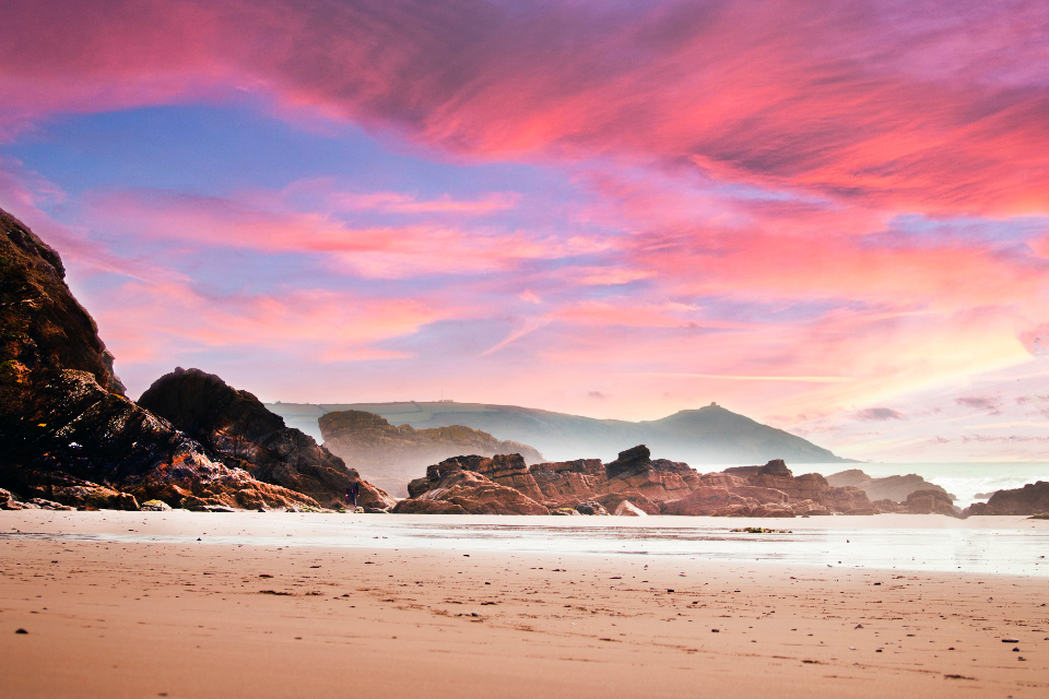 beach coast landscape clouds dusk island red sky red nature rocks sand seascape seashore shore sky sunset water waves